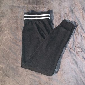 Rue 21 Grey Joggers with White Stripes Along Waist